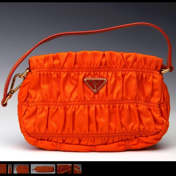 Orange Prada Gaufre Ruched Nylon Bag. M 5b534a55cdc7f742b6fdc81a 0d864b102039e